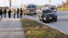 Emergency crews respond to reports of a pedestrian struck near Simcoe Street and Conlin Road on Nov. 14, 2018. (Colin Williamson)