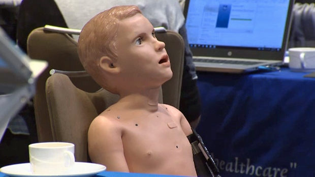 A pediatric patient simulator on display at the SIM Expo at Hotel Arts in Calgary on November 14, 2018
