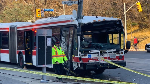 A TTC bus crashed into a hydro pole at  Davenport Road and Bathurst Street on Nov. 14, 2018. (Twitter/@carmellosolorio)