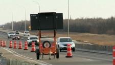 Traffic down to 1 lane on South Perimeter bridge