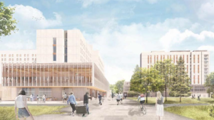 An artist's rendering of new housing on the University of Victoria campus, including a 600-seat dining hall. (UVic)