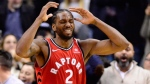 Toronto Raptors forward Kawhi Leonard (2) reacts after knocking the ball out of bounds with two seconds left in a tie game against the Detroit Pistons during second half NBA basketball action in Toronto on Wednesday, Nov. 14, 2018. THE CANADIAN PRESS/Frank Gunn