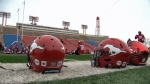 Stampeders helmets at McMahon Stadium
