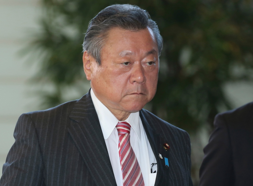 In this Oct. 2, 2018, file photo, Japan's Minister in Charge of Tokyo Olympics Yoshitaka Sakurada arrives at the prime minister's official residence in Tokyo. (AP Photo/Koji Sasahara, File)