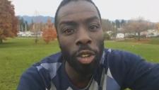 Activist Desmond Cole describes an encounter with a Vancouver police officer on the social media app Periscope. Nov. 13, 2018.