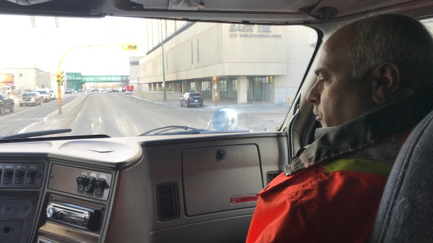 Rana Hameed trains a student in a Skyways Trucking training truck (Katherine Hill / CTV Regina)
