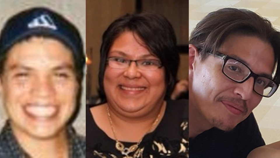 (left to right) Michael Shane Jamieson,  Melissa Trudy Miller, and Alan Grant Porter, are pictured in this composite image of photos released by Ontario Provincial Police Thursday November 15, 2018. All three were found dead in a private field in the municipality of Middlesex Centre, Ont. on Nov, 4, 2018. (Handout /OPP)