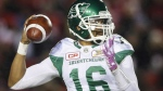 Saskatchewan Roughriders quarterback Brandon Bridge throws the ball during first half CFL football action against the Calgary Stampeders in Calgary, Friday, Oct. 20, 2017. (THE CANADIAN PRESS / Jeff McIntosh)