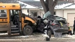 3 hurt after school bus and SUV collide