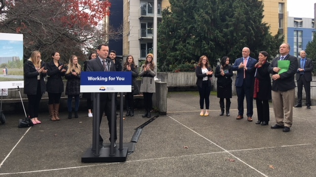 UVic President Jamie Cassels speaks at a funding announcement for two new student housing buildings on campus. Nov. 15, 2018. (CTV Vancouver Island)