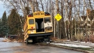 A school bus went off the road at Woolsey Link due to slick road conditions on Thursday, November 15, 2018.