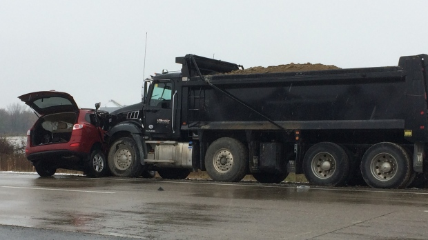 OPP are investigating a serious collision between a dump truck and SUV on Highway 3 on Thursday, Nov. 15, 2018. (Stefanie Masotti / CTV Windsor)