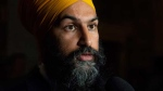 NDP Leader Jagmeet Singh speaks with media in the foyer of the House of Commons in Ottawa, Wednesday, Oct. 3, 2018. THE CANADIAN PRESS/Adrian Wyld