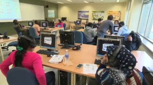Quebec newcomers take part in a language class.