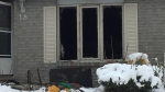 An early morning fire causes major damage to a home in Barrie, Ont. on Thursday, Nov. 15, 2018 (CTV News/Steve Mansbridge)