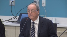 Doug McCallum speaks at the Mayors' Council about Surrey's push for a SkyTrain line.
