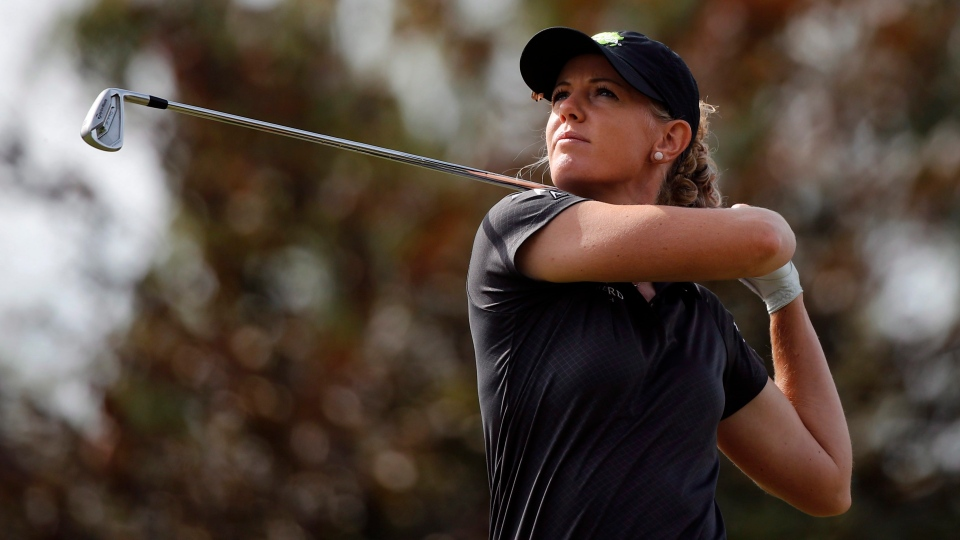 Amy Olson of the U.S. tees off to the 8th hole during the fourth round of the Evian Championship women's golf tournament in Evian, eastern France, Sunday, Sept. 16, 2018. (AP Photo/Francois Mori)