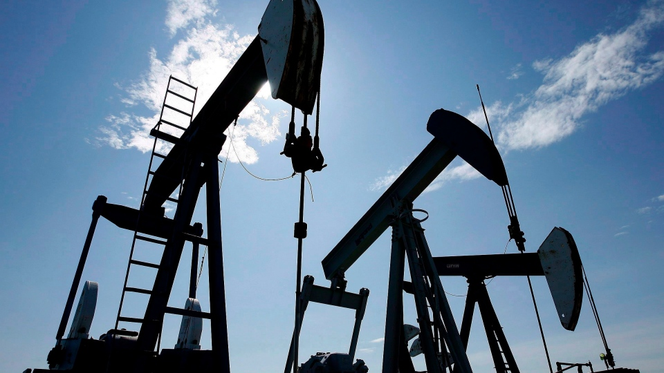 Pumpjacks are shown pumping crude oil near Halkirk, Alta., on June 20, 2007. THE CANADIAN PRESS/Larry MacDougal