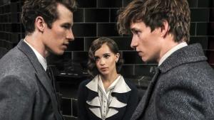 Callum Turner, from left, Zoe Kravitz and Eddie Redmayne in 'Fantastic Beasts: The Crimes of Grindelwald.' (Jaap Buitendijk / Warner Bros. Pictures via AP)
