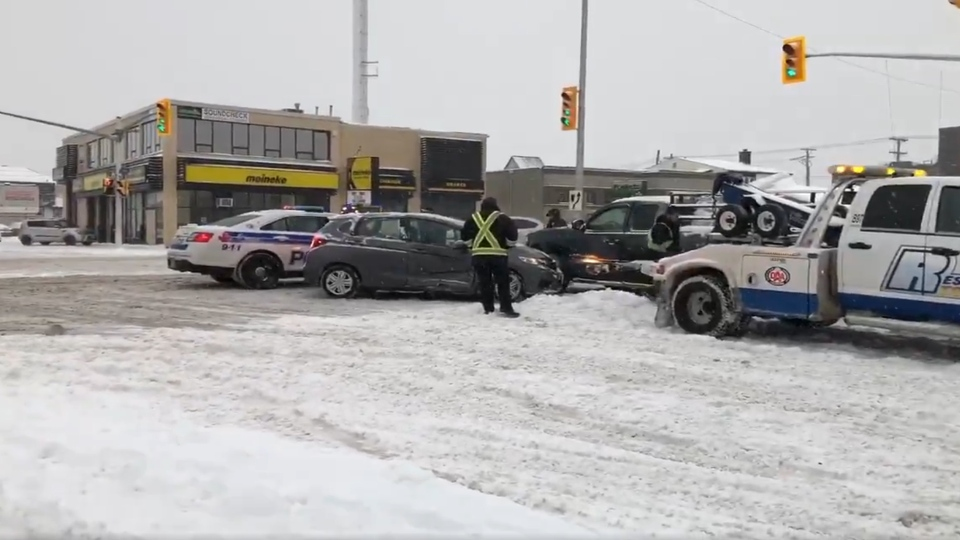 A three-car collision at Carling and Cole avenues in the city's west end slowed up morning traffic. (Mike Arsalides/CTV Ottawa)