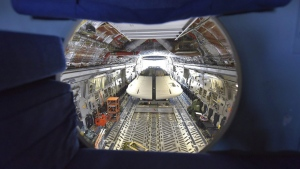 A view of NASA's Orion engineering model from the rear cockpit area of the C-17 aircraft it was loaded on March 6, 2017. (Matt Harding / The Yuma Sun via AP)