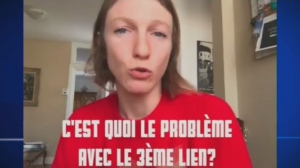 "Catherine Dion, the MNA for Taschereau, took to Facebook to express the opinion that a hotly-debated infrastructure project called the ""Troisieme Lien"" is comparable to cocaine use. The video has amassed over 200,000 views. (Screengrab/Facebook)"