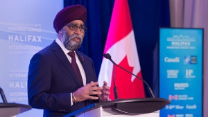 Canadian Defence Minister Harjit Sajjan fields questions at the opening news conference of the Halifax International Security Forum in Halifax on Friday, Nov. 16, 2018. The Canadian Press/Andrew Vaughan