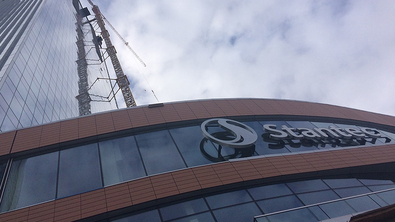 A look at the Stantec Tower in Edmonton's Ice District from ground level on Sept. 27, 2018.