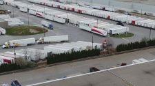 A backlog of trucks at the Gateway plant in Mississauga. Canada Post says each truck has at least 2,500 parcels and packets waiting to be offloaded. (Canada Post)
