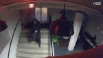 Toronto police have released surveillance camera footage of a suspect wanted in connection with a series of break-and-enters in the downtown core. (Toronto police handout)