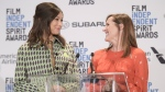 Gemma Chan, left, and Molly Shannon announce the nominees for the 34th Film Independent Spirit Awards at the W Hollywood on Friday, Nov. 16, 2018, in Los Angeles. (Photo by Richard Shotwell/Invision/AP)