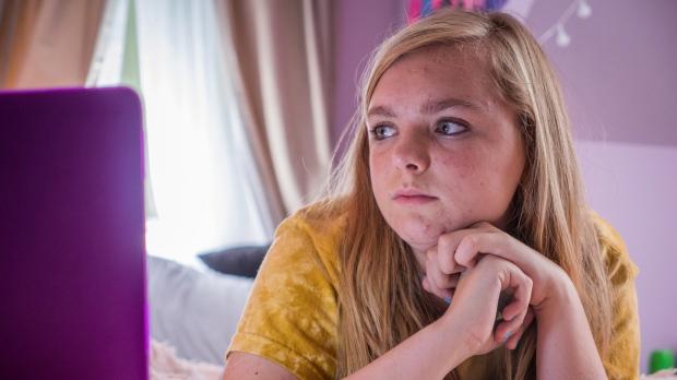 Elsie Fisher in a scene from 'Eighth Grade.' (Linda Kallerus / A24 via AP)