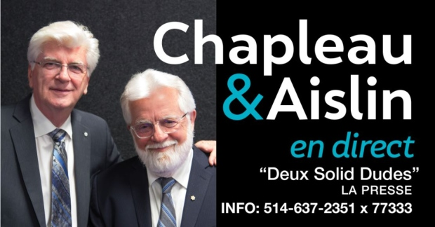 """Terry Mosher of the Montreal Gazette and Serge Chapleau of La Presse will be giving a joint talk as """"Deux Solid Dudes"""" to raise money for the MUHC's Lachine Hospital. (Photo courtesy of the Lachine Hospital Foundation)"""