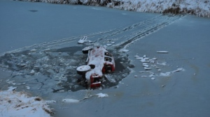 The RCMP says this vehicle was found in a creek near Swift Current on Nov. 16 (Supplied: RCMP)