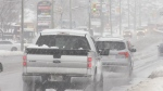 Snow continues to fall in Barrie, Ont. on Friday, November 16, 2018 (CTV News/Rob Cooper)