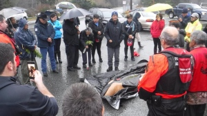 Members of the Mowachaht/Muchalaht First Nation on Nootka Island held a ceremony to send off a killer whale calf found dead on the island Wednesday. Nov. 15, 2018. (Courtesy Jack Johnson/Ha-Shilth-Sa)