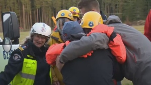 Two women missing for 36 hours in the Quadra Island wilderness had an emotional reunion with family and friends Friday. Nov. 16, 2018. (CTV Vancouver Island)
