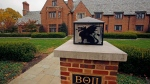 This Nov. 9, 2017, file photo shows the shuttered Beta Theta Pi fraternity house on Penn State University's main campus in State College, Pa. (AP Photo/Gene J. Puskar, File)