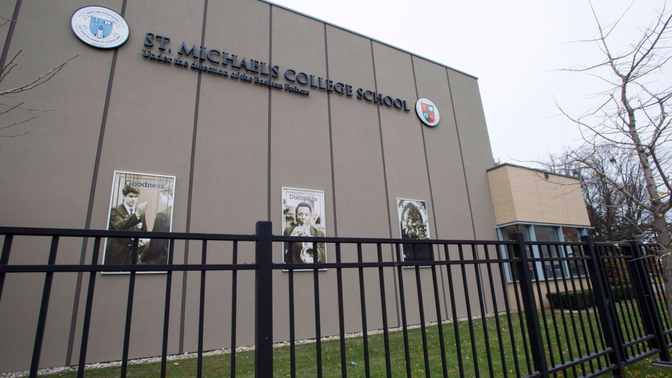 St. Michael's College School is shown in Toronto on Thursday, November 15, 2018. An investigation is underway into an alleged sexual assault at a prestigious private school in Toronto, police said Wednesday as the institution announced it had expelled students over two serious incidents. (THE CANADIAN PRESS / Frank Gunn)