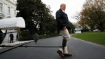 U.S. President Donald Trump leaves the White House, Saturday Nov. 17, 2018, in Washington, en route to see fire damage in California. (AP Photo/Jacquelyn Martin)