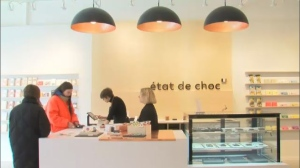 "The women who run ""Etat de Choc"" - a new chocolate shop in Little Italy - call it ""a new generation chocolate factory."" (CTV Montreal)"