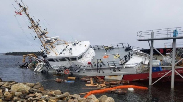 CCGS Corporal McLaren was released from its secured cradle at the Canadian marine engineering Ltd shipyard in Sambro, N.S. where it was beginning a scheduled refit. (Canadian Coast Guard / Twitter)