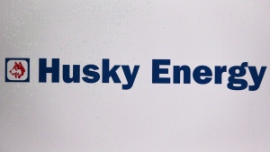 The Husky Energy logo is shown at the company's annual meeting in Calgary, Alta., Friday, May 5, 2017. (THE CANADIAN PRESS/Jeff McIntosh)
