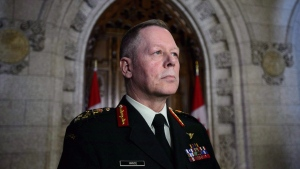 Chief of Defence Staff Jonathan Vance takes part in a press conference in the foyer of the House of Commons on Parliament Hill in Ottawa March 19, 2018. (THE CANADIAN PRESS/Sean Kilpatrick)