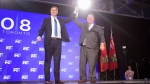 Federal Conservative Leader Andrew Scheer, left, is joined on stage by Ontario Premier Doug Ford after addressing the Ontario PC Convention in Toronto on Saturday, November 17, 2018. THE CANADIAN PRESS/Chris Young