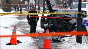 A police chase ended at the corner of Sherbrooke and De Lery streets, with one woman suffering serious injuries.