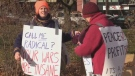 Protestors gathered outside the Halifax International Security Forum to voice their disapproval of Canada's role in international clashes
