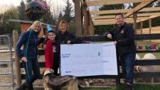 Matthew Farden presented a cheque of $2,500 to the Happy Herd Sanctuary on his birthday. Courtesy: Happy Herd Sanctuary