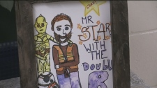 A picture drawn by a Goodfellow Public School student in remembrance of teacher Chris Starr who passed away on October 17, 2018 (Don Wright/CTV News)