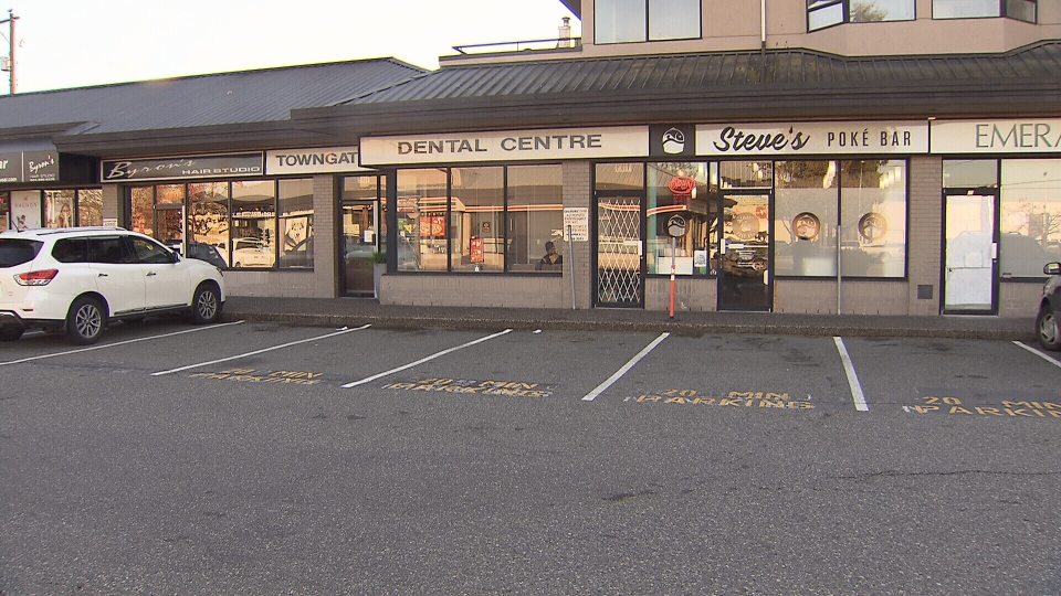 The strip mall on 100 Ave and 152 St in Surrey was replaced with new parking stalls.